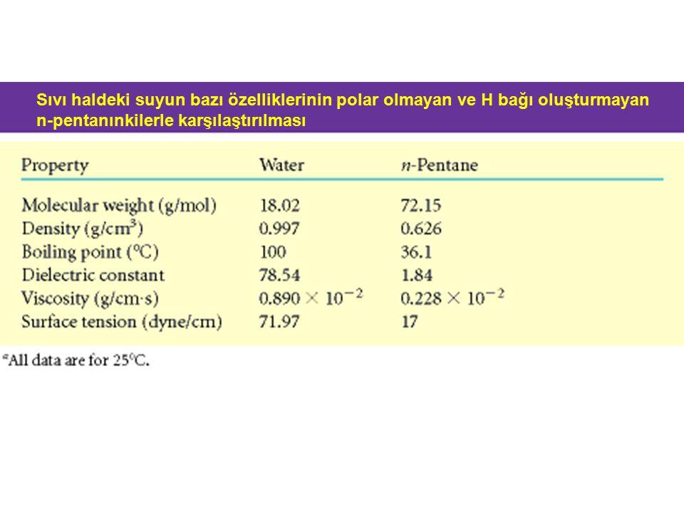 Sıvı haldeki suyun bazı özelliklerinin polar olmayan ve H bağı oluşturmayan n-pentanınkilerle karşılaştırılması