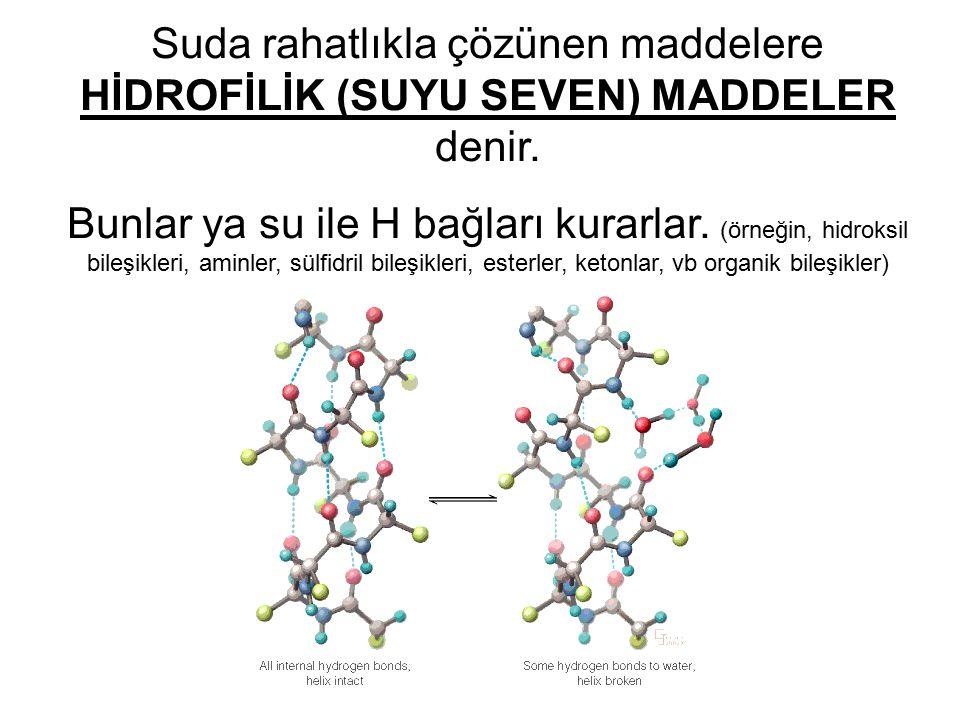 Suda rahatlıkla çözünen maddelere HİDROFİLİK (SUYU SEVEN) MADDELER denir. Bunlar ya su ile H bağları kurarlar. (örneğin, hidroksil bileşikleri, aminle