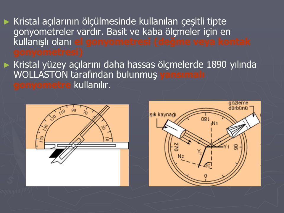 ► ► Kristal açılarının ölçülmesinde kullanılan çeşitli tipte gonyometreler vardır. Basit ve kaba ölçmeler için en kullanışlı olanı el gonyometresi (de