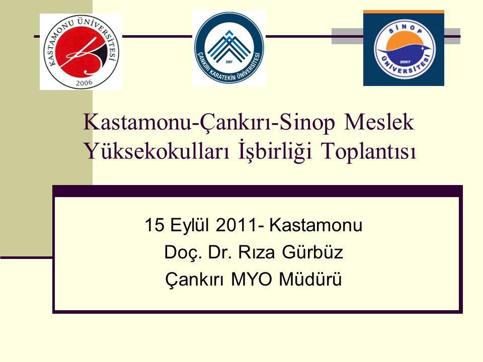 Kastamonu-Çankırı-Sinop Meslek Yüksekokulları İşbirliği Toplantısı 15 Eylül 2011- Kastamonu Doç. Dr. Rıza Gürbüz Çankırı MYO Müdürü