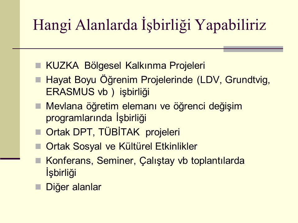 Hangi Alanlarda İşbirliği Yapabiliriz KUZKA Bölgesel Kalkınma Projeleri Hayat Boyu Öğrenim Projelerinde (LDV, Grundtvig, ERASMUS vb ) işbirliği Mevlan
