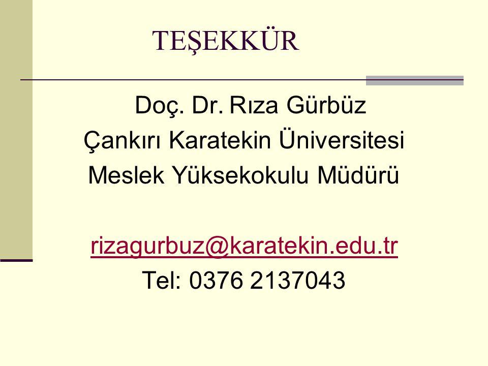TEŞEKKÜR Doç. Dr. Rıza Gürbüz Çankırı Karatekin Üniversitesi Meslek Yüksekokulu Müdürü rizagurbuz@karatekin.edu.tr Tel: 0376 2137043