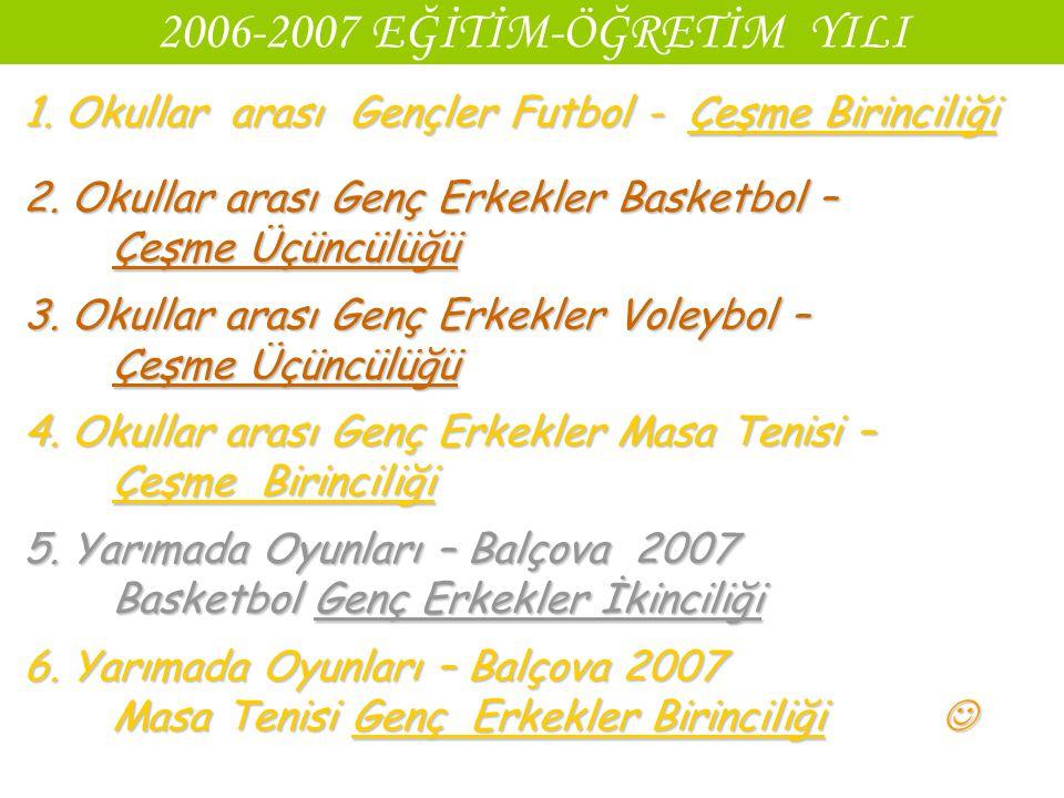 2006-2007 EĞİTİM-ÖĞRETİM YILI 1. Okullar arası Gençler Futbol - Çeşme Birinciliği 2. Okullar arası Genç Erkekler Basketbol – Çeşme Üçüncülüğü 3. Okull