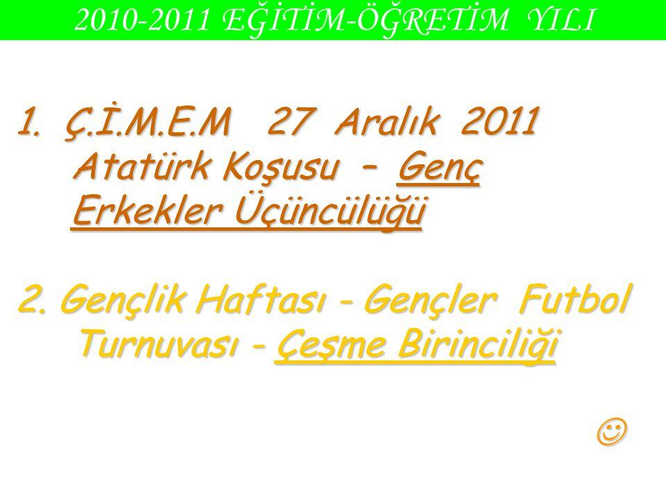 2010-2011 EĞİTİM-ÖĞRETİM YILI 1. Ç.İ.M.E.M 27 Aralık 2011 Atatürk Koşusu – Genç Erkekler Üçüncülüğü 2. Gençlik Haftası - Gençler Futbol Turnuvası - Çe