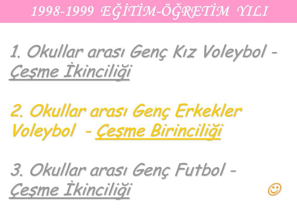 1998-1999 EĞİTİM-ÖĞRETİM YILI 1. Okullar arası Genç Kız Voleybol - Çeşme İkinciliği 2. Okullar arası Genç Erkekler Voleybol - Çeşme Birinciliği 3. Oku