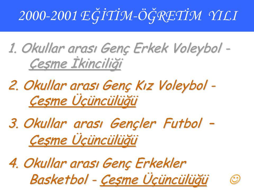2000-2001 EĞİTİM-ÖĞRETİM YILI 1. Okullar arası Genç Erkek Voleybol - Çeşme İkinciliği 2. Okullar arası Genç Kız Voleybol - Çeşme Üçüncülüğü 3. Okullar