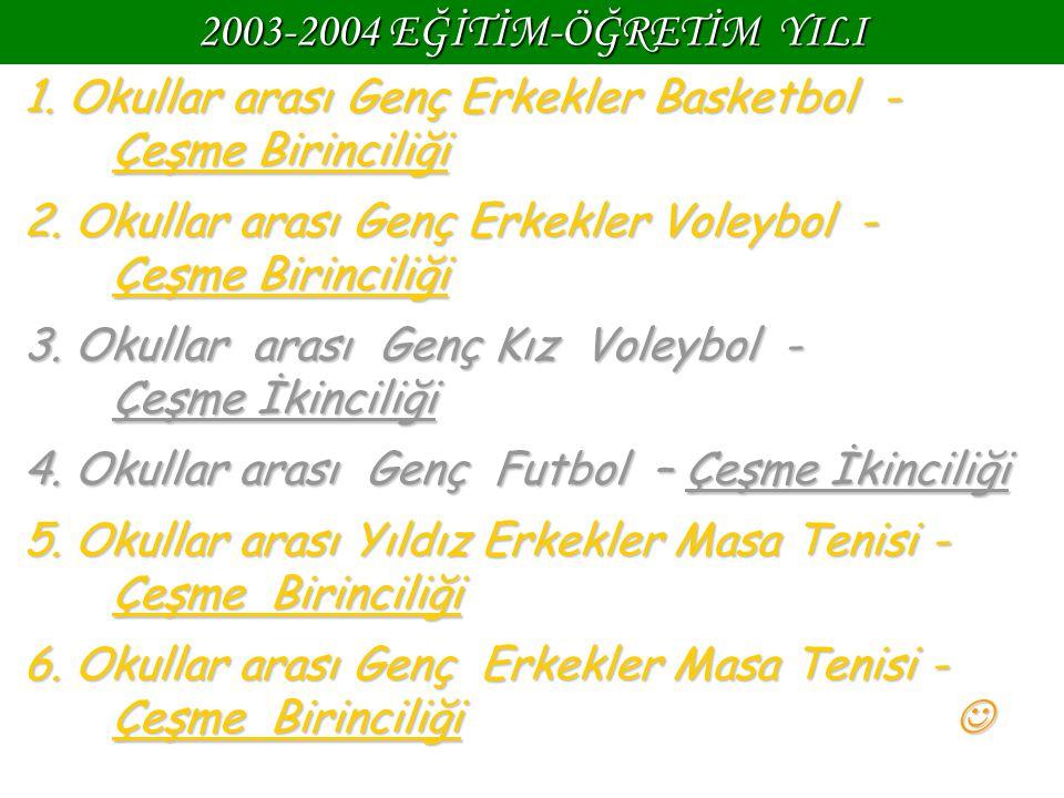 2003-2004 EĞİTİM-ÖĞRETİM YILI 1. Okullar arası Genç Erkekler Basketbol - Çeşme Birinciliği 2. Okullar arası Genç Erkekler Voleybol - Çeşme Birinciliği