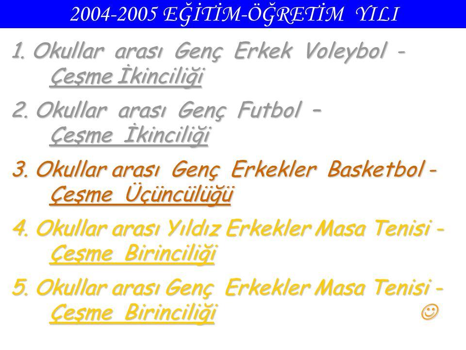 2004-2005 EĞİTİM-ÖĞRETİM YILI 1. Okullar arası Genç Erkek Voleybol - Çeşme İkinciliği 2. Okullar arası Genç Futbol – Çeşme İkinciliği 3. Okullar arası