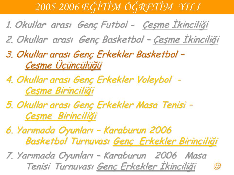 2005-2006 EĞİTİM-ÖĞRETİM YILI 1. Okullar arası Genç Futbol - Çeşme İkinciliği 2. Okullar arası Genç Basketbol – Çeşme İkinciliği 3. Okullar arası Genç