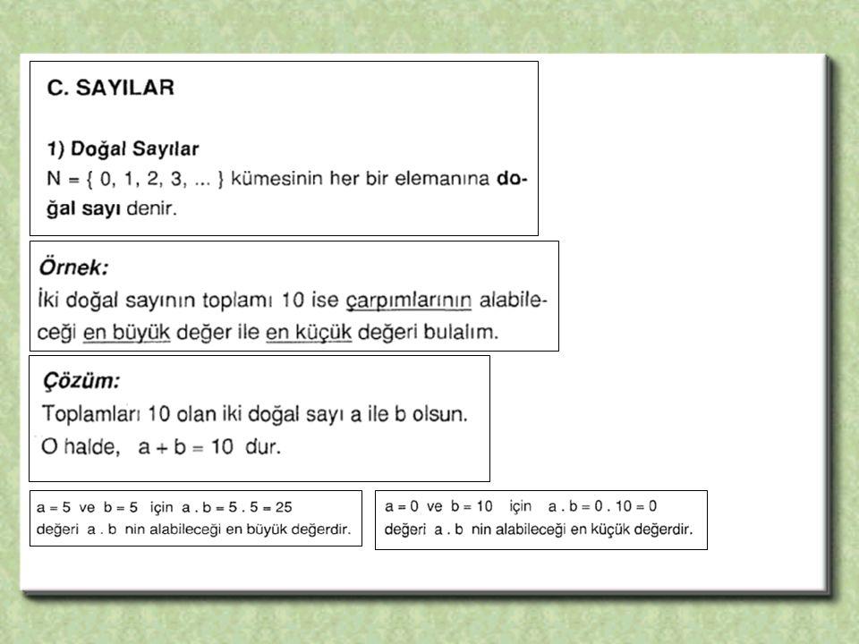 ÖRNEK 2 + 4 + 6 + …+ 20 toplamını hesaplayınız.