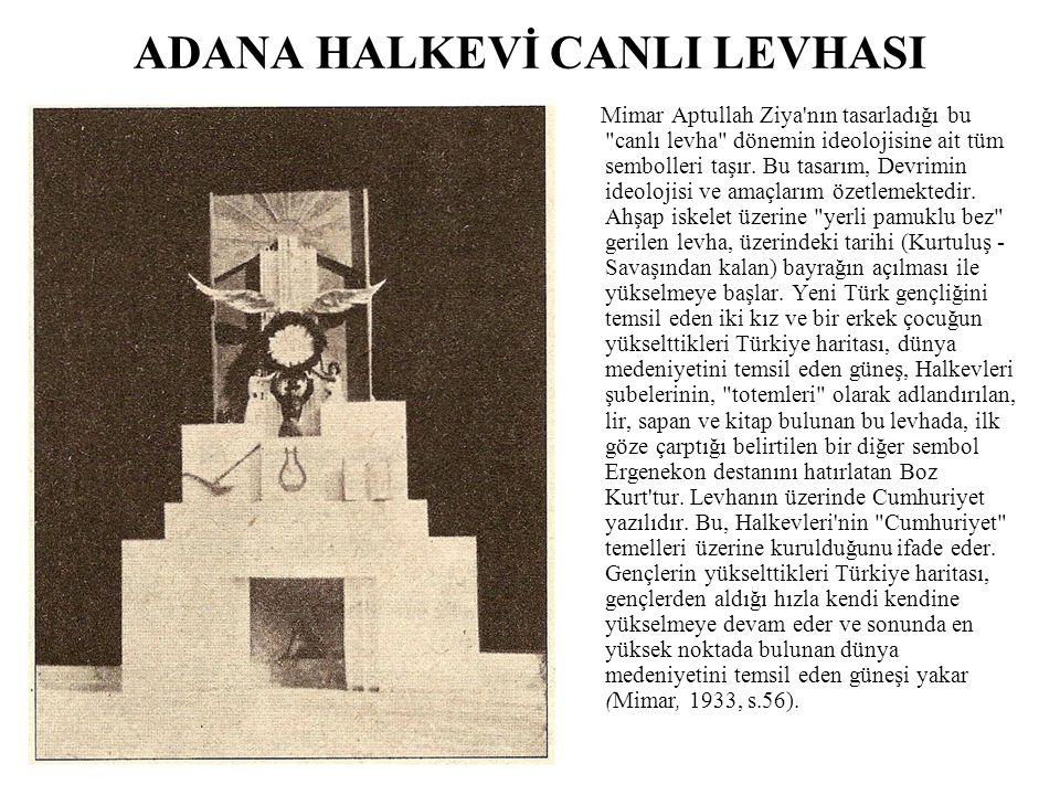 ADANA HALKEVİ CANLI LEVHASI Mimar Aptullah Ziya'nın tasarladığı bu