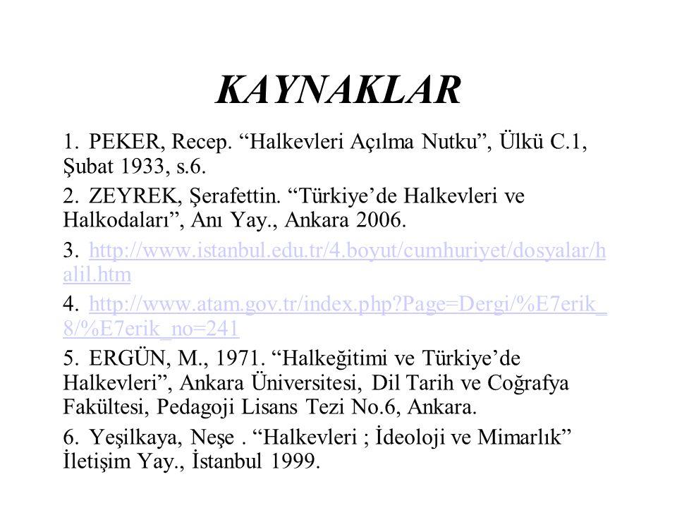 """KAYNAKLAR 1.PEKER, Recep. """"Halkevleri Açılma Nutku"""", Ülkü C.1, Şubat 1933, s.6. 2.ZEYREK, Şerafettin. """"Türkiye'de Halkevleri ve Halkodaları"""", Anı Yay."""