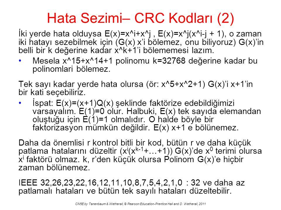 Hata Sezimi– CRC Kodları (2) CN5E by Tanenbaum & Wetherall, © Pearson Education-Prentice Hall and D.