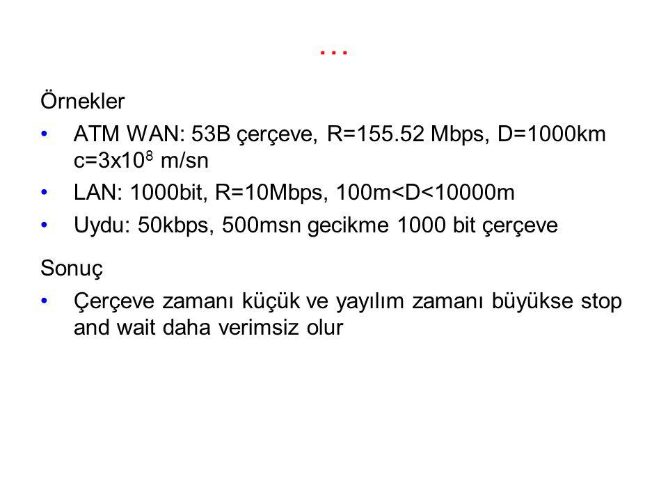 … Örnekler ATM WAN: 53B çerçeve, R=155.52 Mbps, D=1000km c=3x10 8 m/sn LAN: 1000bit, R=10Mbps, 100m<D<10000m Uydu: 50kbps, 500msn gecikme 1000 bit çerçeve Sonuç Çerçeve zamanı küçük ve yayılım zamanı büyükse stop and wait daha verimsiz olur