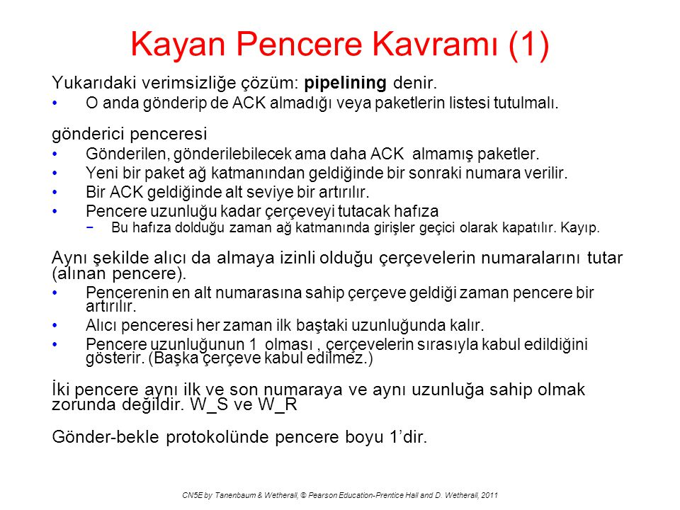 Kayan Pencere Kavramı (1) CN5E by Tanenbaum & Wetherall, © Pearson Education-Prentice Hall and D.