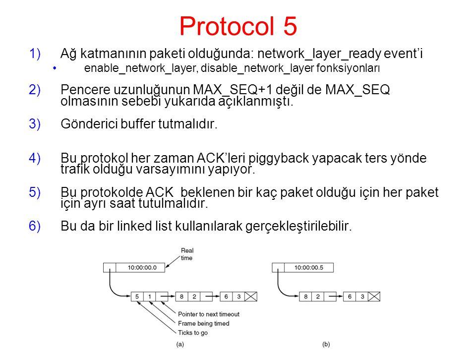 Protocol 5 1)Ağ katmanının paketi olduğunda: network_layer_ready event'i enable_network_layer, disable_network_layer fonksiyonları 2)Pencere uzunluğunun MAX_SEQ+1 değil de MAX_SEQ olmasının sebebi yukarıda açıklanmıştı.