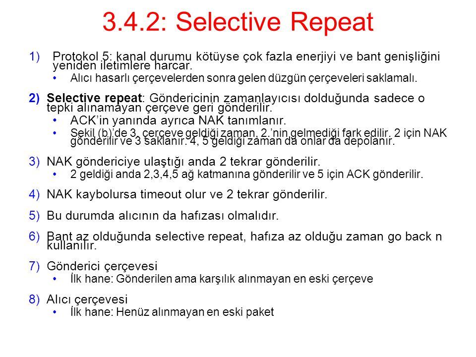 3.4.2: Selective Repeat 1)Protokol 5: kanal durumu kötüyse çok fazla enerjiyi ve bant genişliğini yeniden iletimlere harcar.