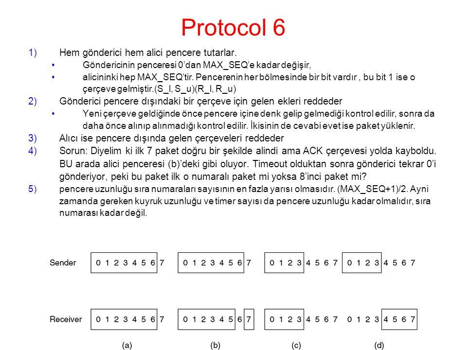 Protocol 6 1)Hem gönderici hem alici pencere tutarlar.
