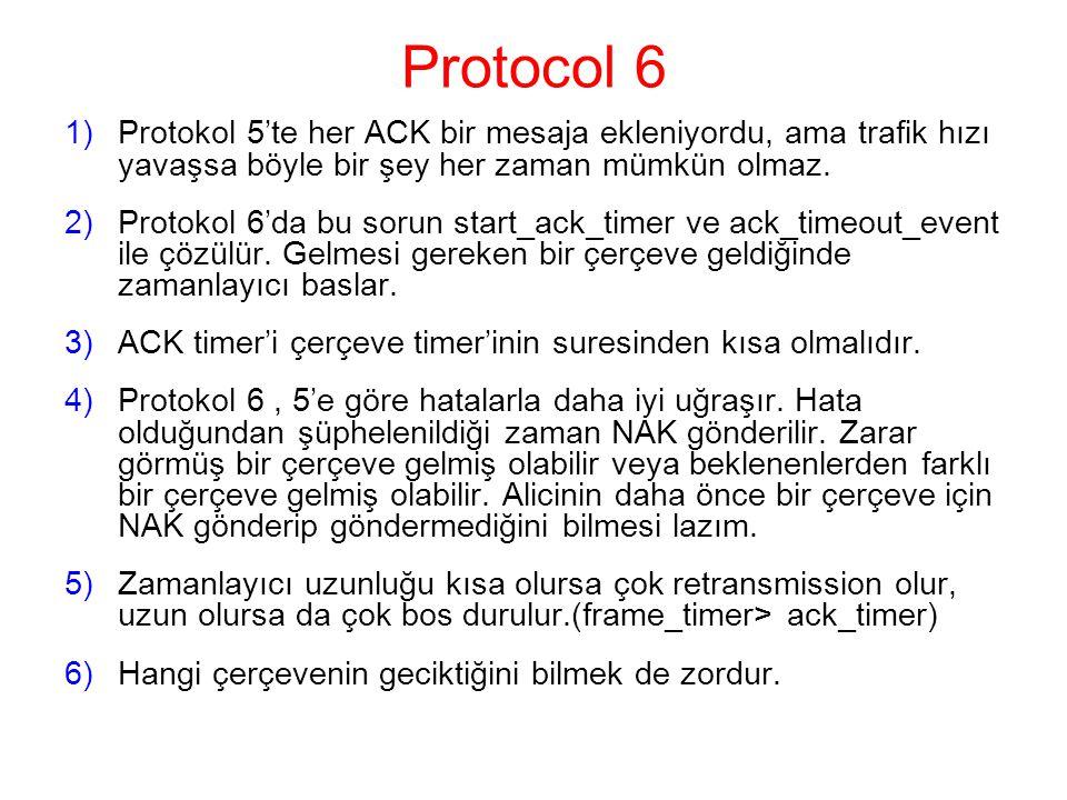 Protocol 6 1)Protokol 5'te her ACK bir mesaja ekleniyordu, ama trafik hızı yavaşsa böyle bir şey her zaman mümkün olmaz.
