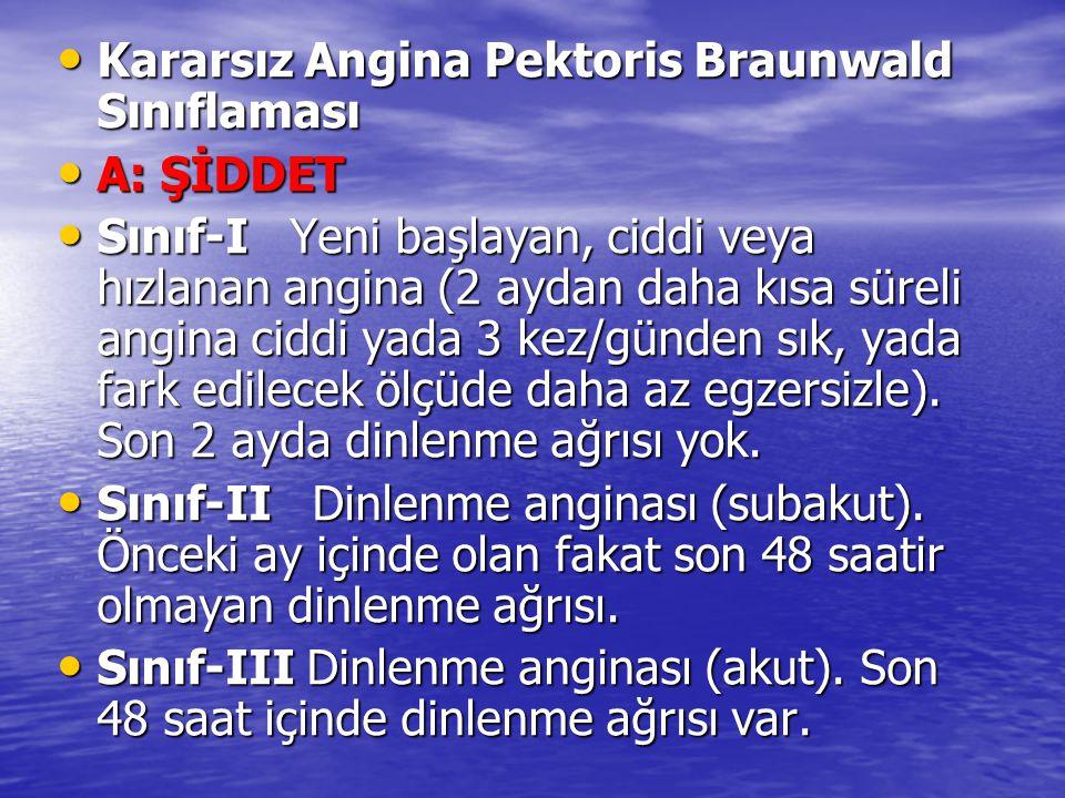 Kararsız Angina Pektoris Braunwald Sınıflaması Kararsız Angina Pektoris Braunwald Sınıflaması A: ŞİDDET A: ŞİDDET Sınıf-I Yeni başlayan, ciddi veya hızlanan angina (2 aydan daha kısa süreli angina ciddi yada 3 kez/günden sık, yada fark edilecek ölçüde daha az egzersizle).