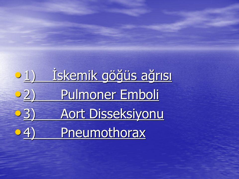 TANIGÖRÜNÜMF.M.Yard.testler Pulmoner Emboli Ani gelişir,plöritik ağrı,dispne Taşipne,taşi kardi,DVT AKG,AC PA,V/Q,Anjio,E KG Aort disseksionu Sırta yayılan ağrı,nörolojik semptomlar Yeni üfürüm üst extremitede eşit olmayan TA AC PA,Anjio,CT Perikardit Dispne,pozis yonel ağrı JVD EKG,AC PA,sonografi Pnömotorax Plöritik ağrı,dispne Azalmış solunum sesleri AC PA,AKG