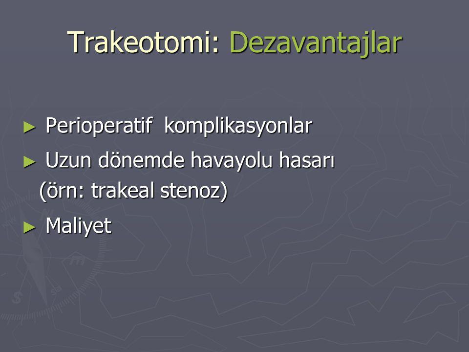 Trakeotomi: Dezavantajlar ► Perioperatif komplikasyonlar ► Uzun dönemde havayolu hasarı (örn: trakeal stenoz) ► Maliyet