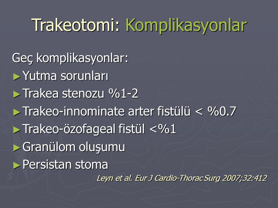 Trakeotomi: Komplikasyonlar Geç komplikasyonlar: ► Yutma sorunları ► Trakea stenozu %1-2 ► Trakeo-innominate arter fistülü < %0.7 ► Trakeo-özofageal f