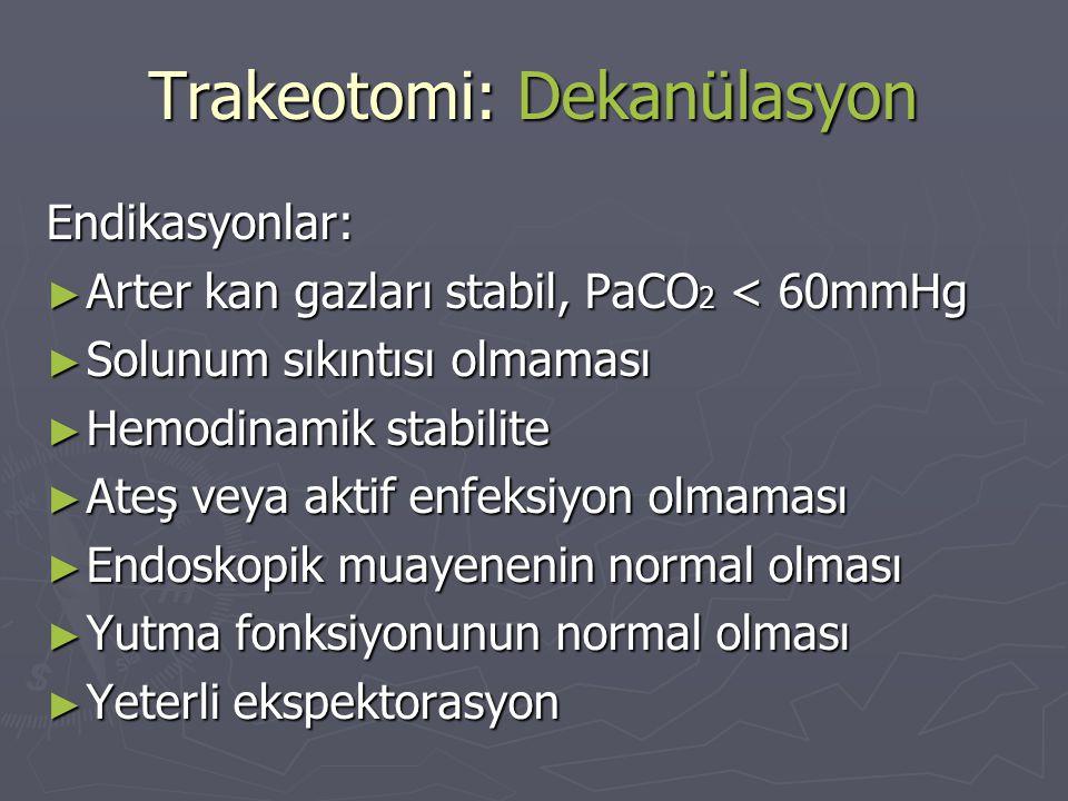 Trakeotomi: Dekanülasyon Endikasyonlar: ► Arter kan gazları stabil, PaCO 2 < 60mmHg ► Solunum sıkıntısı olmaması ► Hemodinamik stabilite ► Ateş veya a