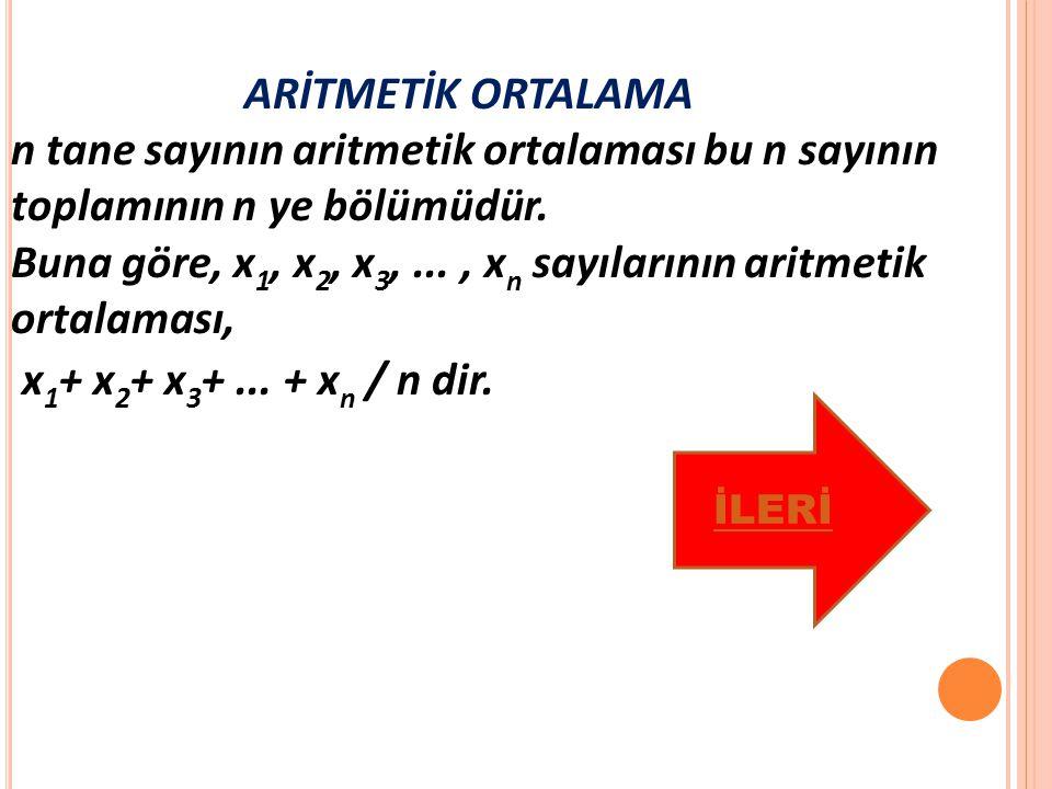 ARİTMETİK ORTALAMA n tane sayının aritmetik ortalaması bu n sayının toplamının n ye bölümüdür.