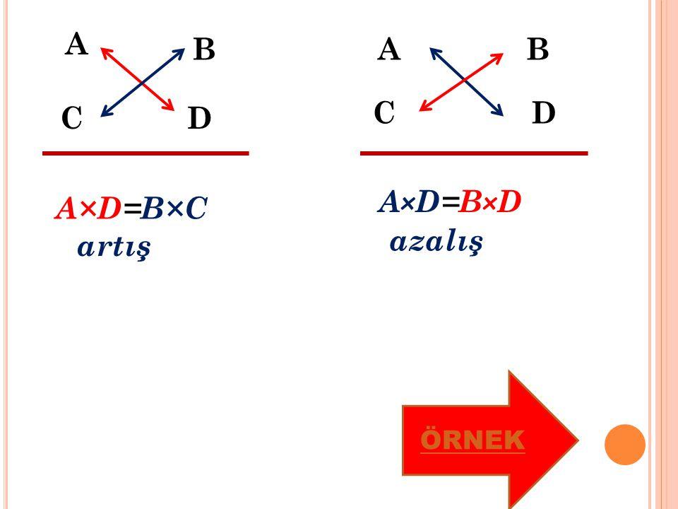 A B CD A×D=B×C artış AB CD A×D=B×D azalış ÖRNEK