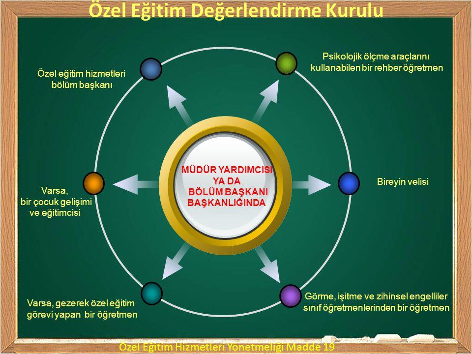 Özel Eğitim Değerlendirme Kurullarınca yapılacak eğitsel değerlendirme ve tanılama sürecinde bireyin; a) Tıbbî değerlendirme raporu b) Zihinsel, fiziksel, duygusal, sosyal gelişim öyküsü c) Nesnel, standart testler c) Tüm gelişim alanlarındaki özellikleri d) Akademik disiplin alanlarındaki yeterlilikleri e) Eğitim ihtiyaçları f) Bireysel gelişim raporu g) Eğitim hizmetlerinden yararlanma süresi h) Eğitim performansı dikkate alınır.