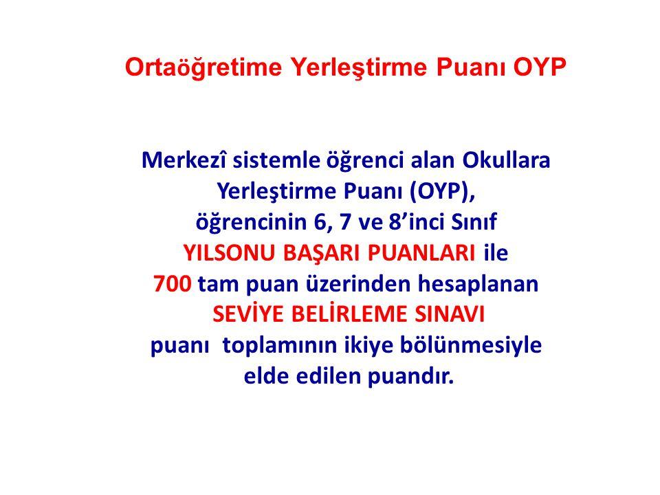 Orta ö ğretime Yerleştirme Puanı OYP Merkezî sistemle öğrenci alan Okullara Yerleştirme Puanı (OYP), öğrencinin 6, 7 ve 8'inci Sınıf YILSONU BAŞARI PU