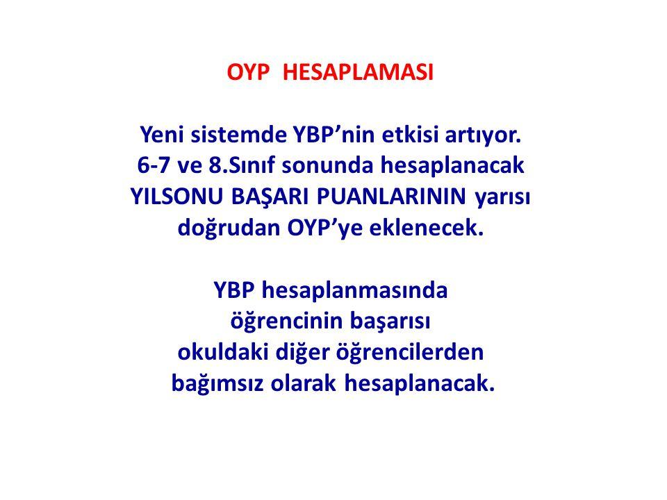 OYP HESAPLAMASI Yeni sistemde YBP'nin etkisi artıyor. 6-7 ve 8.Sınıf sonunda hesaplanacak YILSONU BAŞARI PUANLARININ yarısı doğrudan OYP'ye eklenecek.