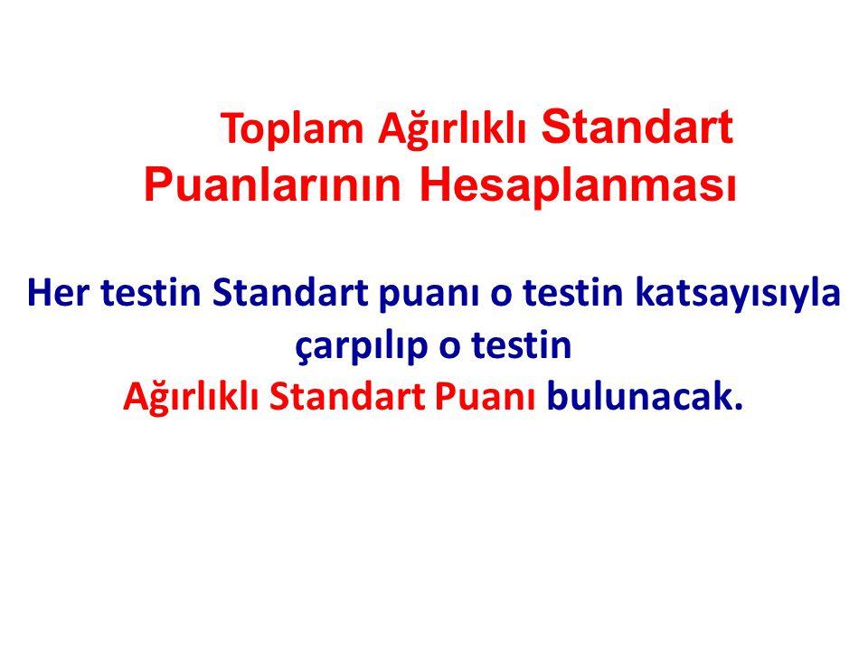 Toplam Ağırlıklı Standart Puanlarının Hesaplanması Her testin Standart puanı o testin katsayısıyla çarpılıp o testin Ağırlıklı Standart Puanı bulunaca