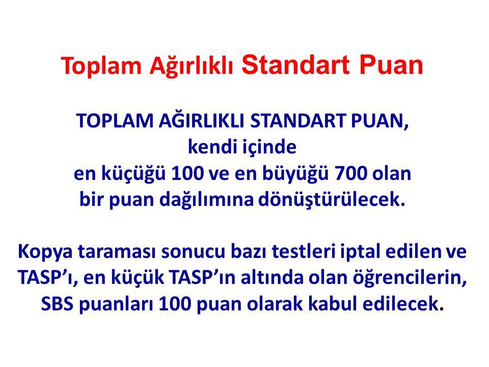 Toplam Ağırlıklı Standart Puan TOPLAM AĞIRLIKLI STANDART PUAN, kendi içinde en küçüğü 100 ve en büyüğü 700 olan bir puan dağılımına dönüştürülecek. Ko