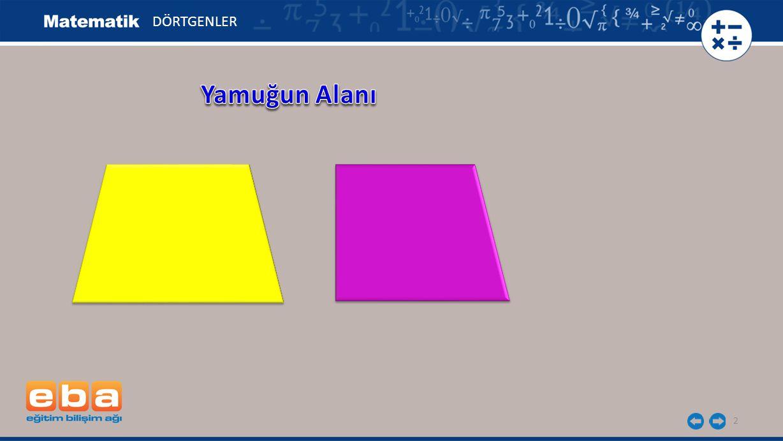 3 C A B D h= 3 cm DÖRTGENLER a= 6 cm c= 4 cm Şekilde = a = 6 cm, E olarak verilen yamuğun alanını üçgenin alanını kullanarak belirleyelim.