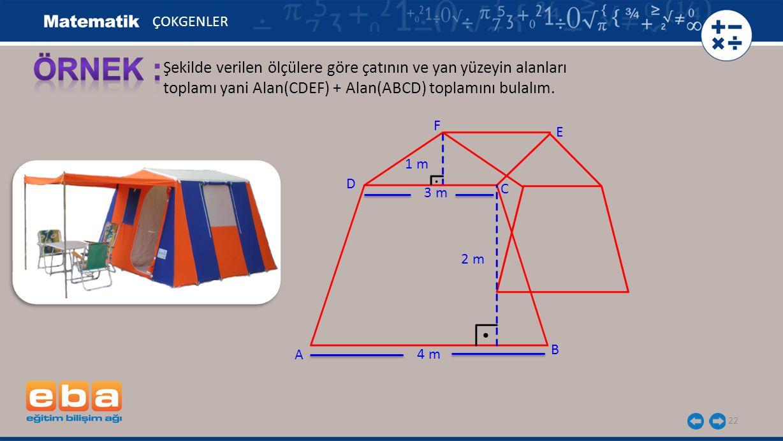 22 Şekilde verilen ölçülere göre çatının ve yan yüzeyin alanları toplamı yani Alan(CDEF) + Alan(ABCD) toplamını bulalım. ÇOKGENLER A C B D 4 m 3 m 2 m
