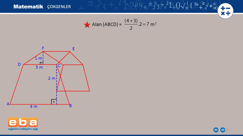 23 ÇOKGENLER Alan (ABCD) = m 2 A C B D 4 m 3 m 2 m 1 m E F