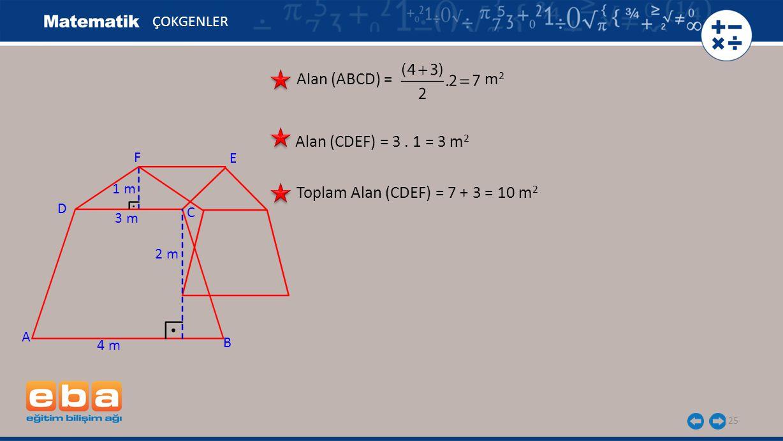 25 ÇOKGENLER Alan (ABCD) = m 2 Alan (CDEF) = 3. 1 = 3 m 2 Toplam Alan (CDEF) = 7 + 3 = 10 m 2 A C B D 4 m 3 m 2 m 1 m F E
