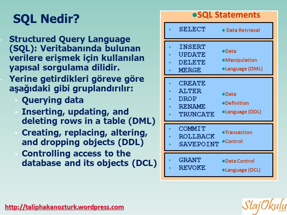 Veri Tabanı Yönetim Sistemi (DBMS) bir yazılımdır..