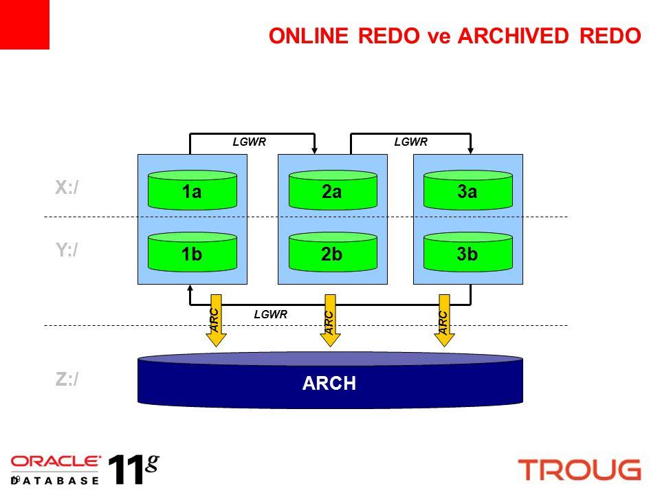 19 ONLINE REDO ve ARCHIVED REDO 1a2a3a 1b2b3b ARCH X:/ Y:/ Z:/ LGWR ARC