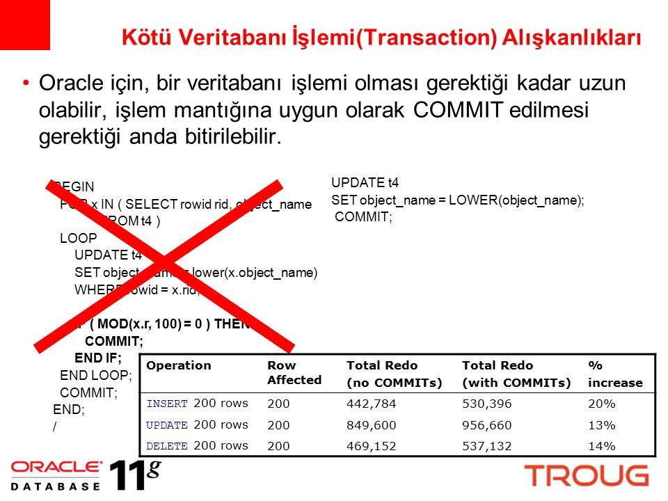 Kötü Veritabanı İşlemi(Transaction) Alışkanlıkları Oracle için, bir veritabanı işlemi olması gerektiği kadar uzun olabilir, işlem mantığına uygun olar