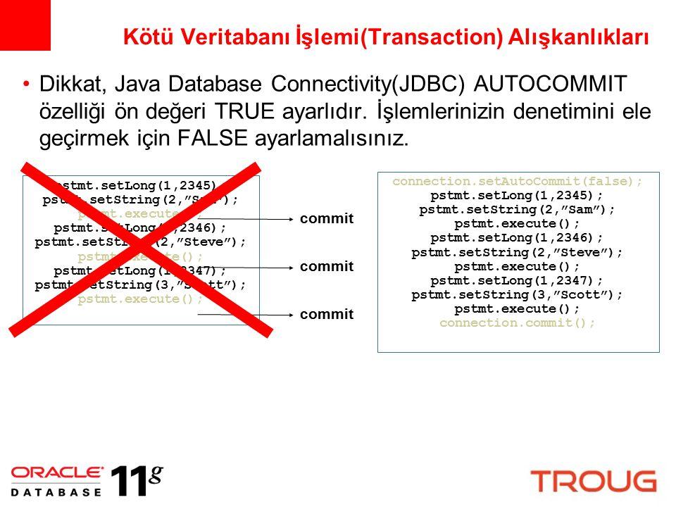 Dikkat, Java Database Connectivity(JDBC) AUTOCOMMIT özelliği ön değeri TRUE ayarlıdır. İşlemlerinizin denetimini ele geçirmek için FALSE ayarlamalısın