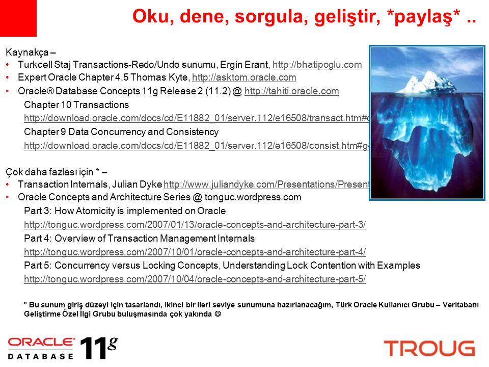 Oku, dene, sorgula, geliştir, *paylaş*.. Kaynakça – Turkcell Staj Transactions-Redo/Undo sunumu, Ergin Erant, http://bhatipoglu.comhttp://bhatipoglu.c