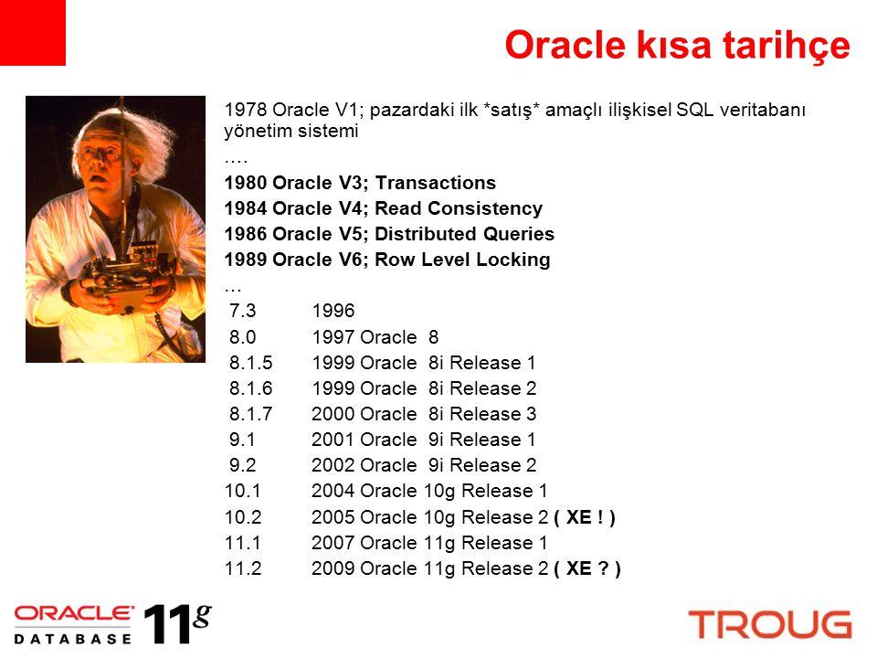 Oracle kısa tarihçe 1978 Oracle V1; pazardaki ilk *satış* amaçlı ilişkisel SQL veritabanı yönetim sistemi …. 1980 Oracle V3; Transactions 1984 Oracle