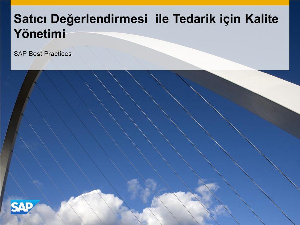 Satıcı Değerlendirmesi ile Tedarik için Kalite Yönetimi SAP Best Practices