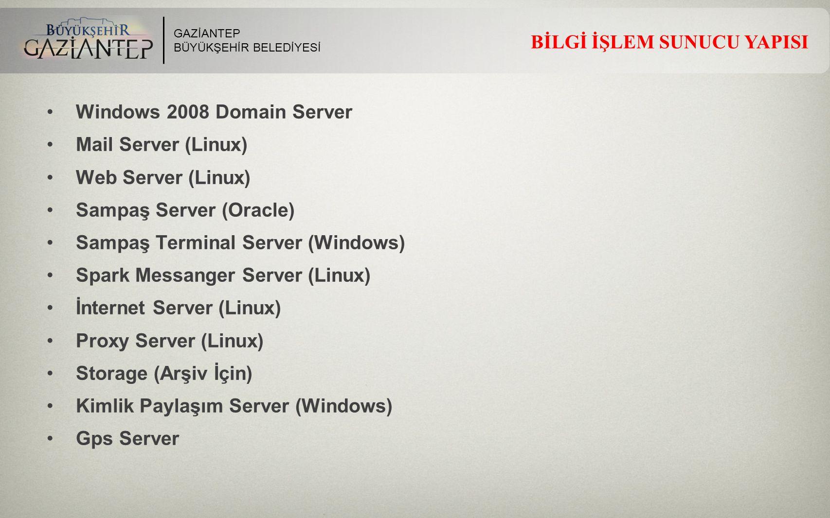 GAZİANTEP BÜYÜKŞEHİR BELEDİYESİ BİLGİ İŞLEM SUNUCU YAPISI Windows 2008 Domain Server Mail Server (Linux) Web Server (Linux) Sampaş Server (Oracle) Sam