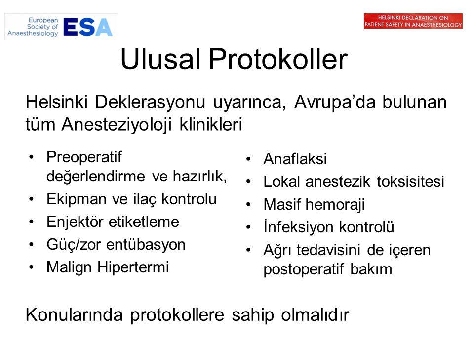 Ulusal Protokoller Helsinki Deklerasyonu uyarınca, Avrupa'da bulunan tüm Anesteziyoloji klinikleri Preoperatif değerlendirme ve hazırlık, Ekipman ve i