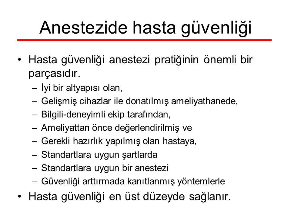 Anestezide hasta güvenliği Hasta güvenliği anestezi pratiğinin önemli bir parçasıdır. –İyi bir altyapısı olan, –Gelişmiş cihazlar ile donatılmış ameli