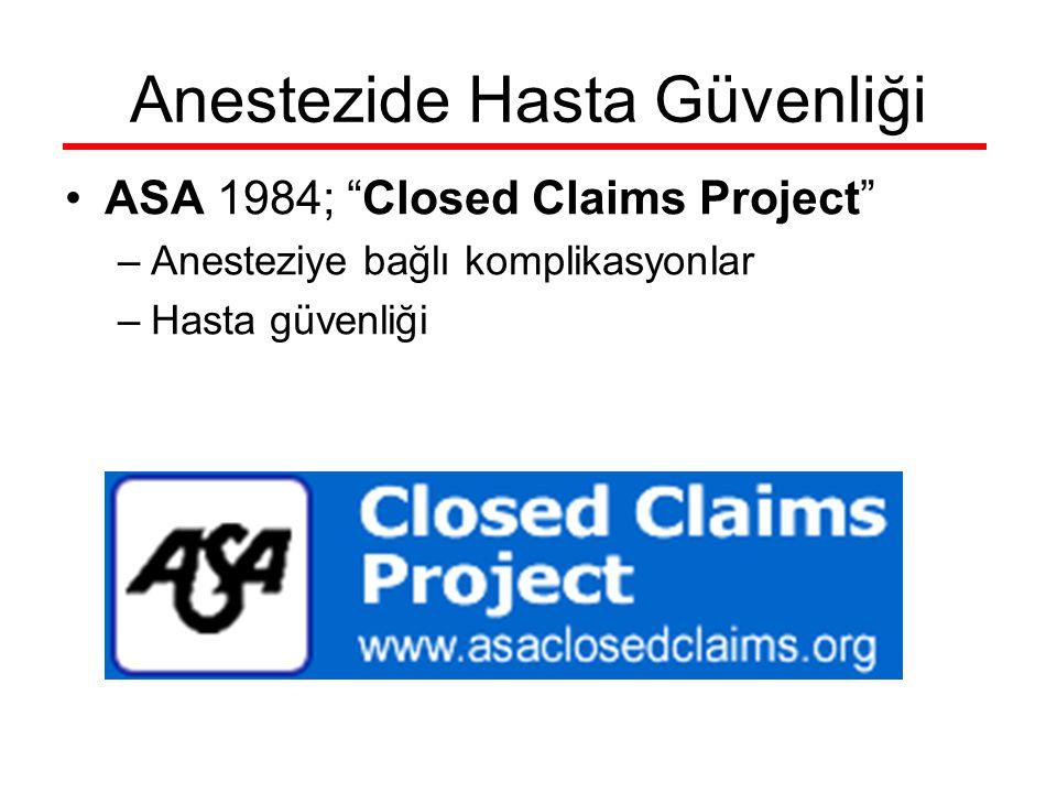 "Anestezide Hasta Güvenliği ASA 1984; ""Closed Claims Project"" –Anesteziye bağlı komplikasyonlar –Hasta güvenliği"